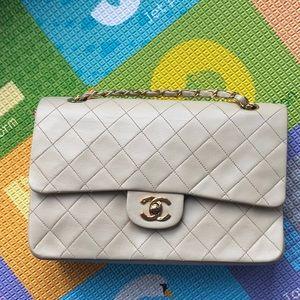 Chanel lambskin medium beige gold hardware vintage